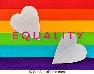 farben, problem, fahne, hearts., rosa, idee, sozial, wort, gleichheit, begriff, lgbt