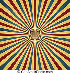 farben, zirkus, sunburst, hintergrund