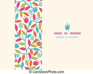 Farbige Äste horizontaler Rahmen, nahtloser Hintergrund