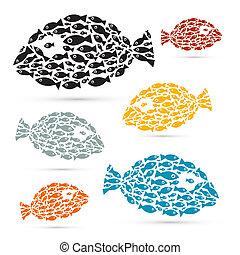 Farbige, abstrakte Fische veranschaulichen.