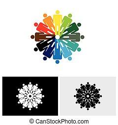 Farbige abstrakte Vektorlogo-Ikone von Menschen, die Hände zusammen halten
