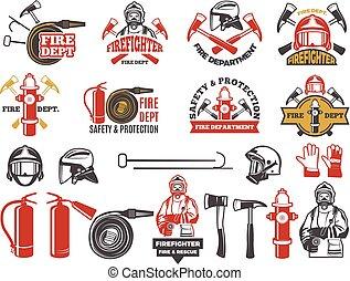 Farbige Ausweise für Feuerwehr. Symbole, die auf weiß isoliert sind