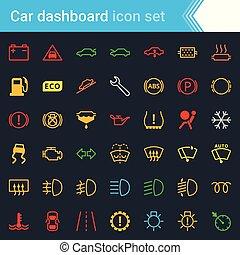 Farbige Auto-Dashboard-Schnittstelle und Indikatoren Icon Set - Wartungs-Vektorsymbole.