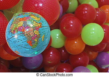 Farbige Bälle, Weltkugel, Indien