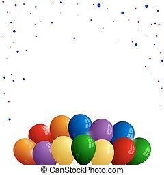 Farbige Ballons mit Konfetti auf weißem Hintergrund