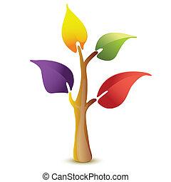 Farbige Baumvektor-Ikone