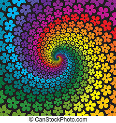 Farbige Blütenspirale im Hintergrund