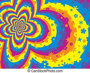 Farbige Blume und gestreifter Hintergrund