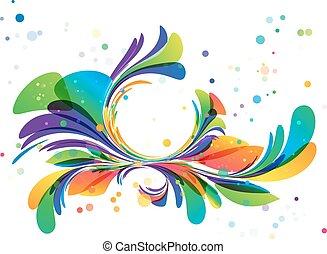 Farbige Blumenschmuck, Kreisrahmen auf weiß.