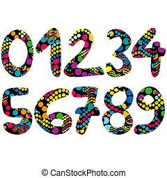 Farbige dekorative Zahlen.