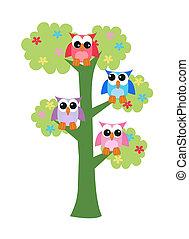 Farbige Eulen sitzen auf einem Baum