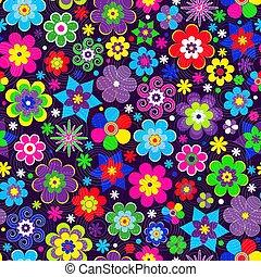 Farbige Feder, nahtlose Muster mit dekorativen stilisierten mehrfarbigen Blüten