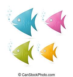 Farbige Fisch-Set Illustration isoliert auf weißem Hintergrund.