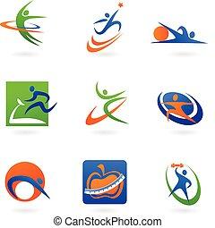 Farbige Fitness-Ikonen und Logos