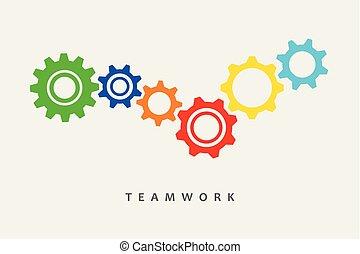 Farbige Gangs Idee Teamwork.