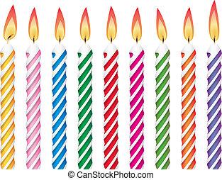 Farbige Geburtstagskerzen