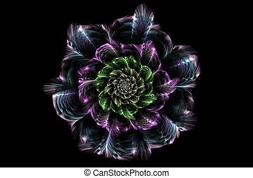 Farbige, gefiederte Blume.