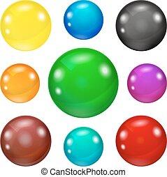 Farbige, glänzende und glänzende Eier