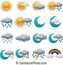 Farbige glossy-Wetter-Ikonen