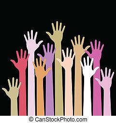 Farbige Hände auf schwarzem Hintergrund.