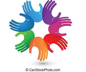 Farbige Hände, Teamwork Logo
