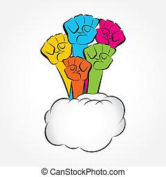 Farbige Hand zeigt Einigkeit