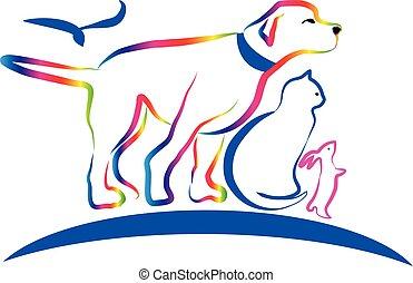 Farbige Haustiere, Hund, Katze, Kaninchen, Linienkunstvektor.
