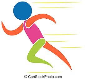 Farbige Ikone des Mannes, der läuft.