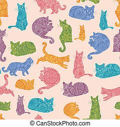 Farbige Katzen silhouetten nahtlos Muster Hintergrund.