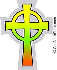 Farbige keltische keltische Kreuzvektorgrafik auf weißem Hintergrund.