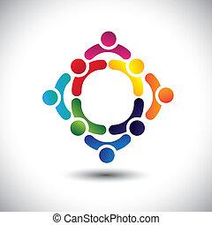 Farbige & Kinder Ikonen in mehreren Kreisen - Konzeptvektoren. Diese Illustration kann auch das Konzept von Kindern darstellen, die zusammen spielen, Freundschaft oder Teambildung oder Gruppenaktivitäten usw