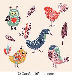 Farbige klassische, süße Cartoon-vögel-Doodle-Sets