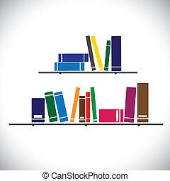 Farbige Kollektionsbücher in einem Bibliotheksregal - Lernkonzeptvektor. Die Grafik enthält Bücher in unterschiedlichen Größen und Farben