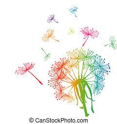Farbige Löwenzahn mit farbigen Samen