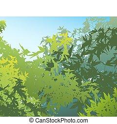 Farbige Landschaft der Sommerfoliage - Vector illustriert die verschiedenen Grafiken auf verschiedenen Schichten, sodass sie leicht bewegt oder individuell bearbeitet werden können