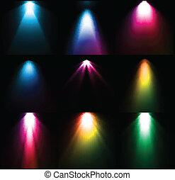 Farbige Lichtquellen. Vector Set