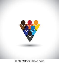 Farbige Menschen Gemeinschaft mit Einheit und Integrität - Konzeptvektor. Diese Grafik repräsentiert auch Internet-Community, Online Social Network & Community, Social Media, Mitarbeiter, Büropersonal, etc