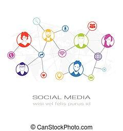 Farbige Menschen Silhouette Social Media Profil Icons Netzwerk-Kommunikations-Nutzer Verbindungskonzept.