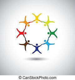 Farbige Menschen zusammen als Kreis der Einheit, Integrität - Konzept