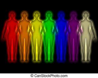 Farbige menschliche Aura - Energiekörper