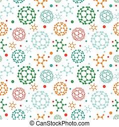 Farbige Moleküle nahtloser Muster Hintergrund