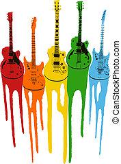 Farbige Musikgitarre