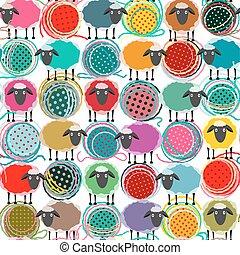 Farbige, nahtlose Schaf- und Garnkugelnmuster