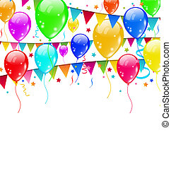 Farbige Partyballons, Konfetti mit Platz für Text.