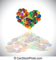 Farbige Plaudereien & Redeblasen als Herzform-Konzept-Vektor. Diese Illustration ist Ausdruck für Studentengemeinschaft, soziale Medienkommunikation oder Online-Chats, Dialoge, Diskussionen usw
