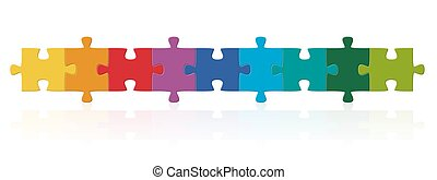 Farbige Puzzleteile in Serie.