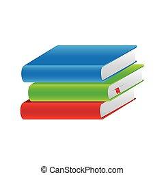 Farbige Schulbücher.
