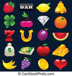 Farbige Spielautomaten-Ikonen