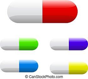 Farbige Tabletten für Kapseln. Vector Illustration