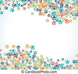 Farbige, tierfarbene Fußabdruck-Dekoration, isoliert auf weißem Hintergrund